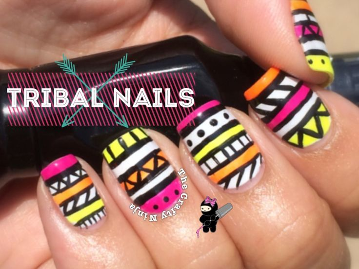 The 25 best tribal nail designs ideas on pinterest pretty nails neon tribal nail art by the crafty ninja prinsesfo Gallery