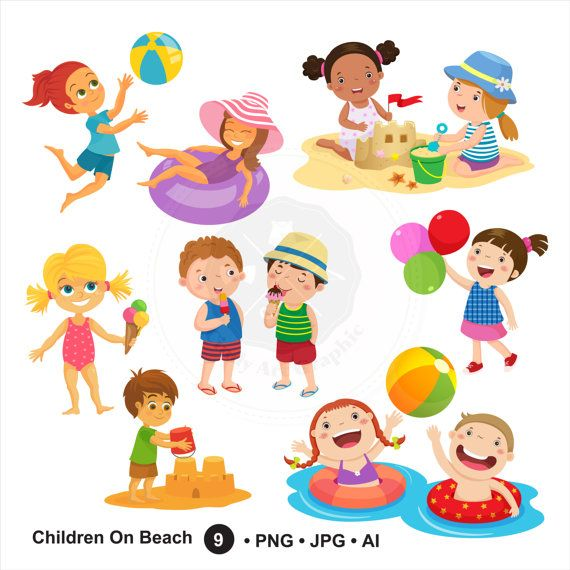 Children On Beach Clipartsummer Kidschildren Clipartdigital Download BUY 1