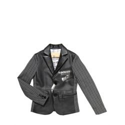 JOHN GALLIANO - FAUX LEATHER & PINSTRIPED JACKET    Notched lapels. Two button closure. Three button cuffs. Printed back panel. Three front pockets. Printed lining