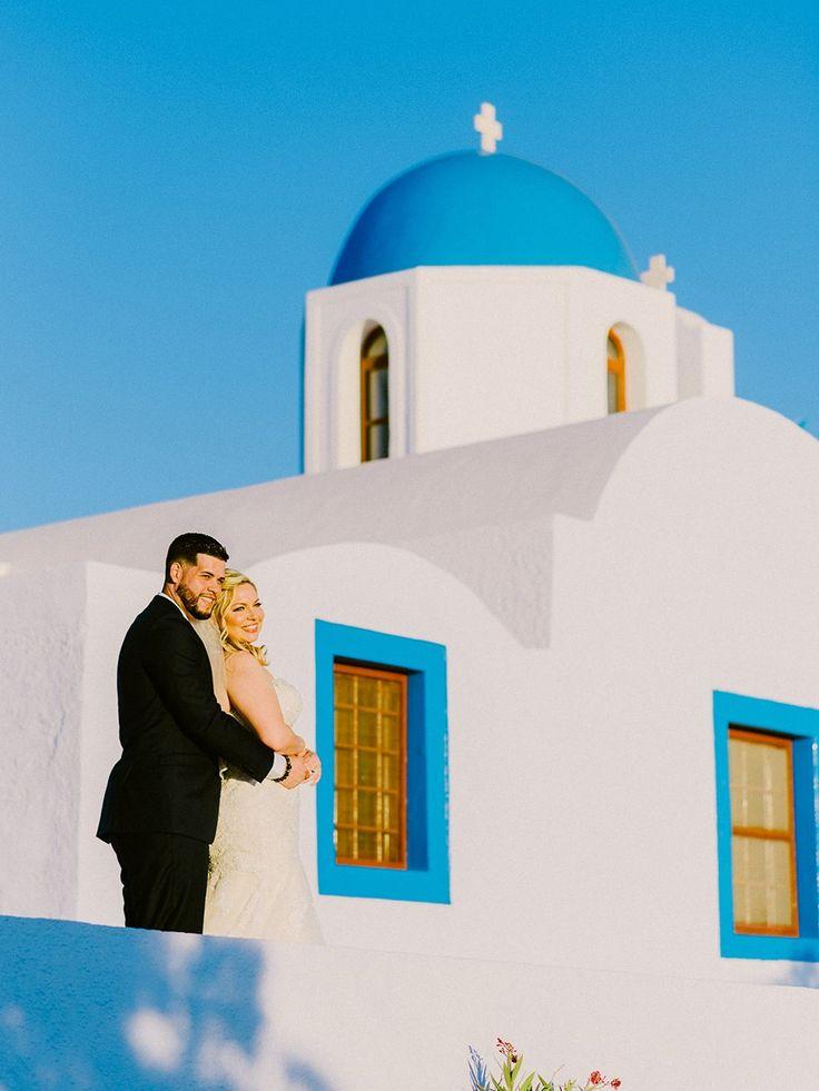 Intimate wedding in Santorini. Clifftop wedding reception in Rocabella hotel