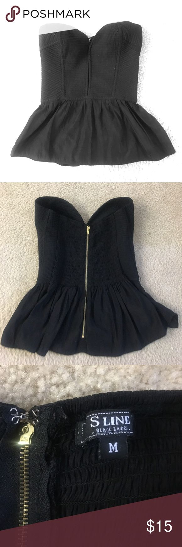 Black Peplum Top Such a cute top! Dips down in front and has a wire on the sides to give it a corset type feel. This is a medium but I would say it runs on the bigger side. Truthfully, I wouldn't recommend this top for anyone under a D cup. The cups on the shirt are fairly large and if they aren't filled out it gives the shirt a strange fit. I am a 34D/DD and it fits me.  Worn once, excellent condition. S Line Tops