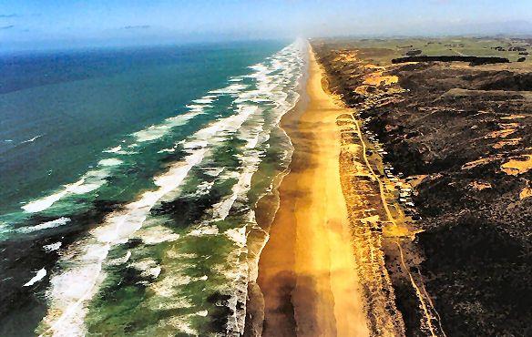 Arial view along the Ripiro Coast