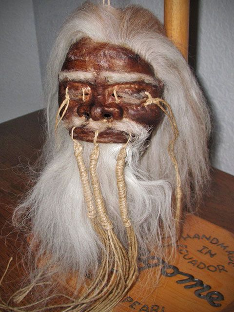 salongome shrunken head ancient warrior | Shrunken Heads : Ancient Warrior Gray/White Haired Shrunken Head*