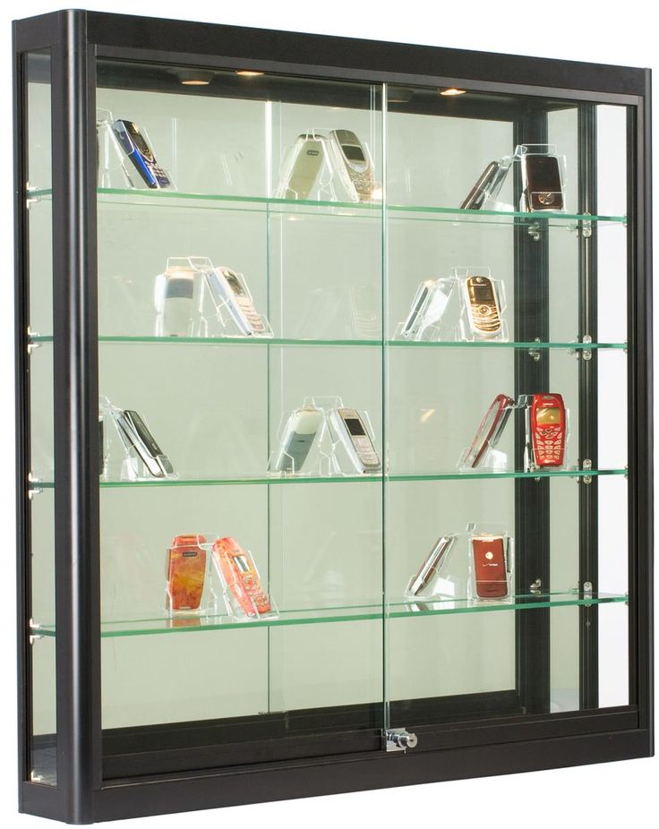 3x3 Wall Mounted Display Case w/Slider Doors & Mirror Back, Locking - Black