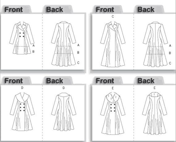 Vogue V8346 Vogue Pattern Service 2007© Uncut Sewing Pattern Misses, Women (6, 8, 10) (12, 14, 16) (18, 20, 22)  Lined, fitted coat has
