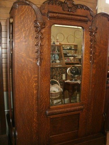 Antique Quarter Sawn Oak Murphy Bed  original beveled mirror  exquisite  carvings. 17 Best images about Antique quarter sawn oak furniture on