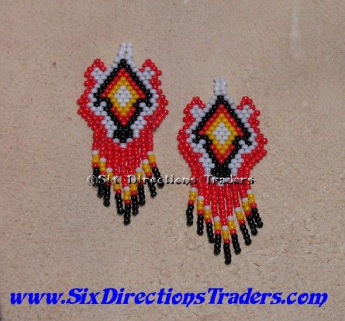 4 Directions Colors Wolf Earrings Seed Beaded Indian Fringed | SixDirectionsTraders - Jewelry on ArtFire