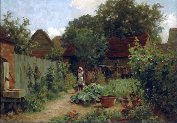 Charles Haigh-Wood (British painter) 1856 - 1927 The Kitchen Garden, 1883 oil on canvas 12 1/2 x 16 1/2 in. (31.7 x 41.9 cm.) signed and dated 'C Haigh-Wood 83' (lower left) private collection