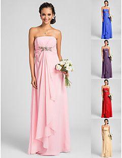 Floor-length Chiffon Bridesmaid Dress - Candy Pink / Royal Blue / Ruby / Champagne / Grape Plus Sizes / Petite Sheath/Column Strapless