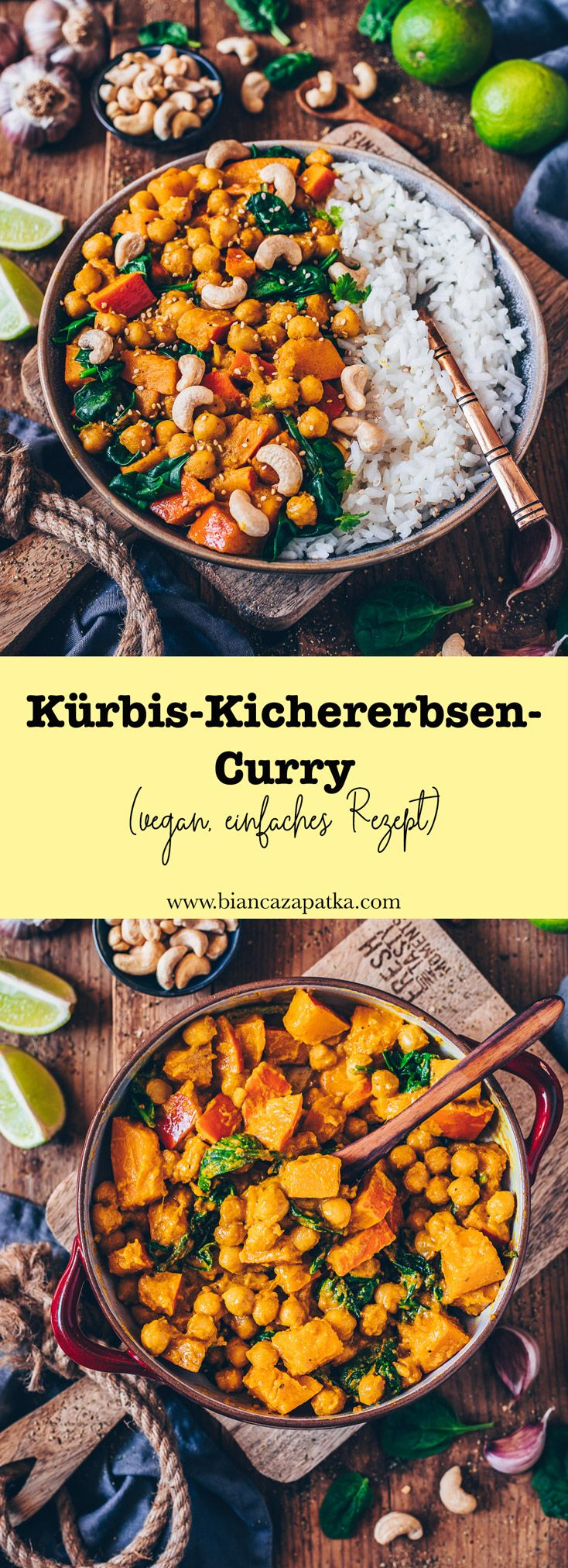 Kürbis-Kichererbsen-Curry (vegan, einfaches Rezept