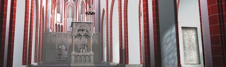 rekonstrukcja wnętrza katedry poznańskiej z ok 1450 roku.