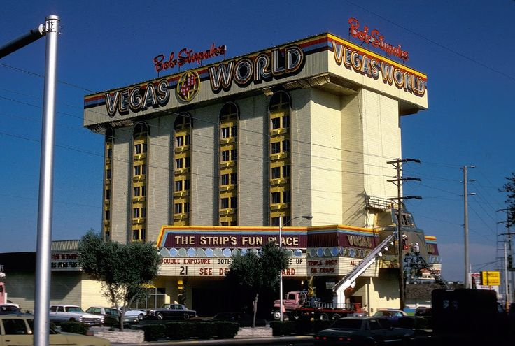 Bob Stupak's Vegas World, where the Stratosphere now sits, c. 1979. Stupak was a gaming entrepreneur, self-promoter, and a professional gambler who once won a million-dollar bet on the Super Bowl. He entered the casino business in the mid 70s with downtown's Glitter Gulch, and the World Famous Historic Gambling Museum located on the Strip just north of Sahara. A fire at the Gambling Museum (like so many other Vegas fires) resulted in a large enough payout to fund Vegas World, built in its