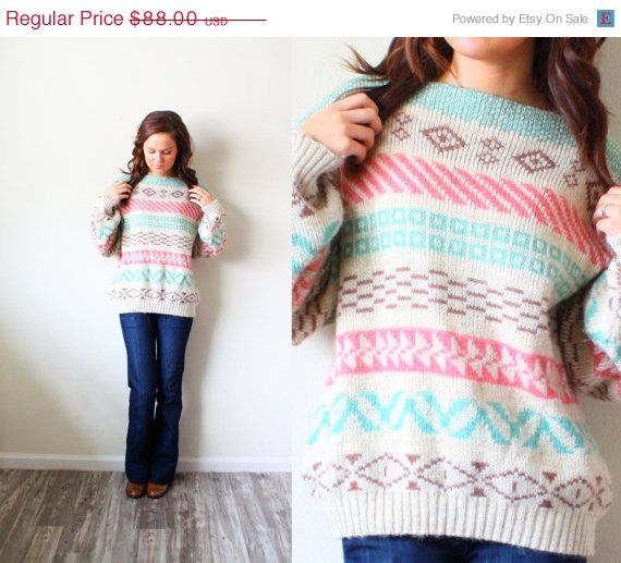 25% OFF BLACK Friday SALE Vintage aztec tribal print boho navajo pink green blue sweater on Etsy, $66.00