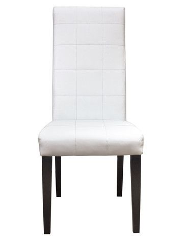 The Tango Chair is a modern detailed dining chair. Available in two finishes, wenge and white lacquer, this chair is truly unique. The white bonded leather seat is detailed with square stitching throughout the front. The back of the seat is elegantly bare for a flush look.  Available in:  White lacquer and white leather Wenge and White leather