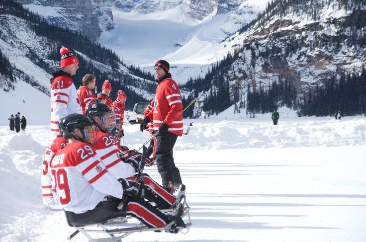 Team Canada Olympic Sledge Hockey Team in Lake Louise, Canada for annual Pond Hockey Tournament