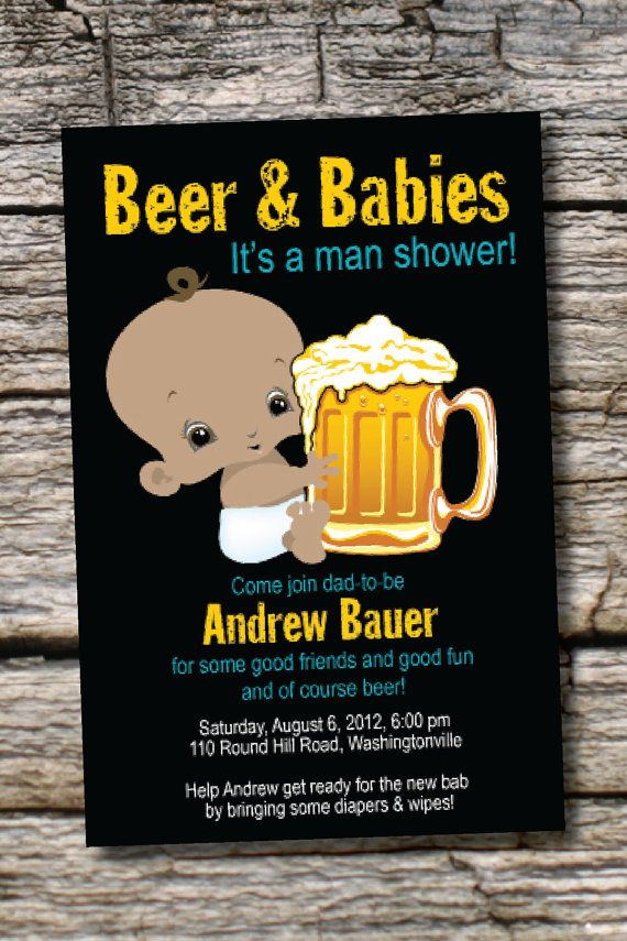 baby shower invitation wording for bringing diapers%0A MAN SHOWER African American Beer and babies Diaper Party Invitation  Printable diy Customizable