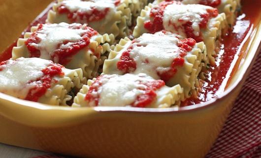 Mushroom kale lasagna roll ups