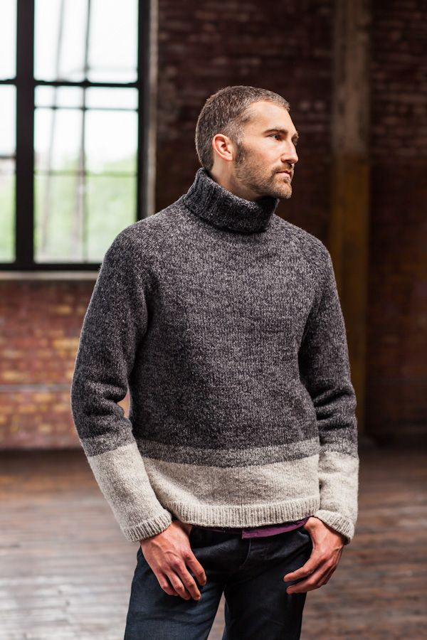 """""""This is my idea of the perfect knock-around sweater. With a comfy loose turtleneck and slightly oversized fit, it's incredibly comfortable to wear any time, anywhere. The colorblock stripes are knit in a combination of two tones of yarn to create a unique and richly marled fabric. Worked seamlessly with very little finishing required, it's …"""