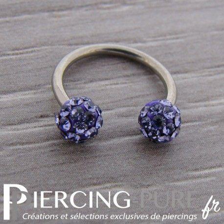 Fer à Cheval Titane Multi-Cristaux violets #piercing #pierre #strass #anneau https://piercing-pure.fr/p/721-fer-a-cheval-titane-multi-cristaux-violets.html