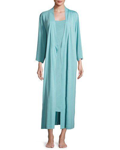 -6W51 Natori  Shangri-La Nightgown, Blue Shell Shangri-La Robe, Blue Shell