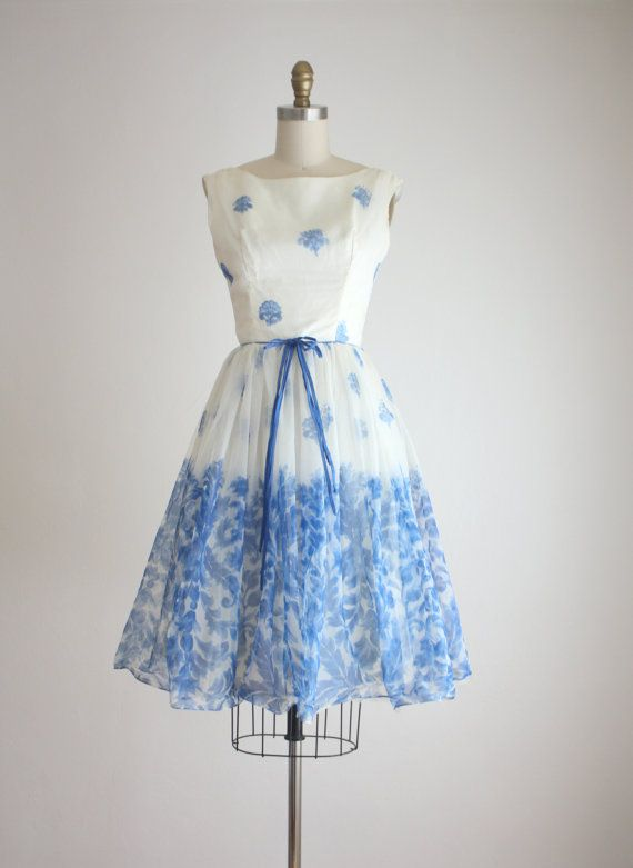 1950s blue teacup dress by 1919vintage on Etsy