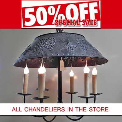 50% Off Sale on of all Chandeliers in Cora's Home Decor.