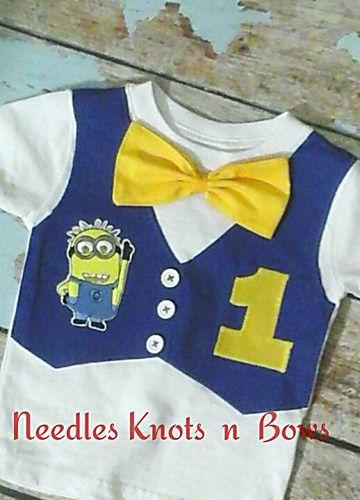 Boys Minion Birthday  Tshirt, Vest and Bowtie  Top or Onesie, Minions