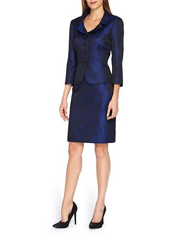 Petite 2-Piece Metallic Lace Skirt Suit | Lord and Taylor