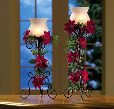 Poinsettia Candle Holders with Blue flowers