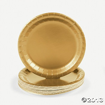 Metallic Gold Party Dessert Plates, Party Plates, Tableware, Party Themes & Events - Oriental Trading