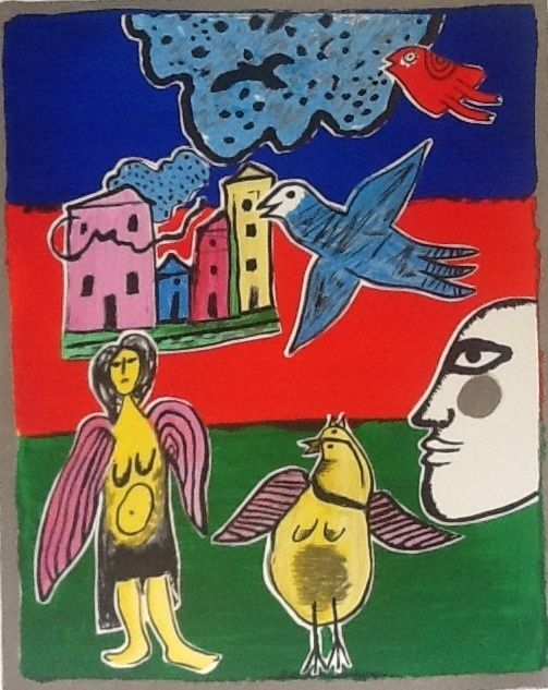 Currently at the Catawiki auctions: Corneille, 'Ange and Birds'/ 'Ange et oiseaux' - coloured lithograph, 2001, signed, Artist Example (A.E.)