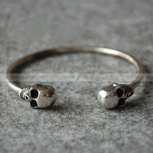Vintage Double Skull Punk girls charms Gothic Metal Cuff Bangle Bracelet | eBay