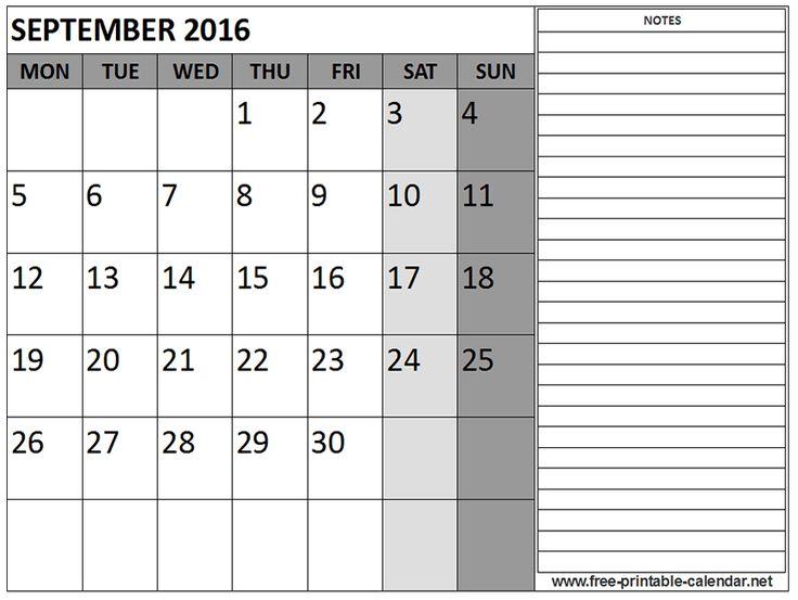 September 2016 Calendar Print