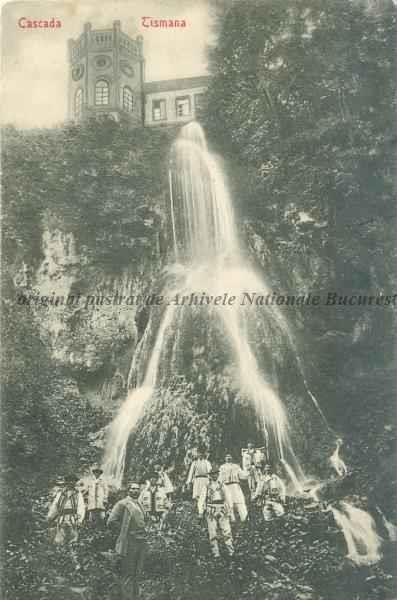 BU-F-01073-5-01635 Cascada Tismana din spatele mănăstirii Tismana, judetul Gorj, -1908 (niv.Document)