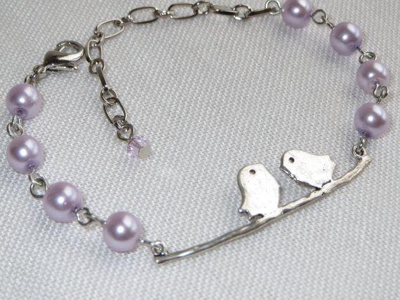 Lovebirds  Silver Charm Bracelet  Blue OR Light Purple by Thielen, $16.00
