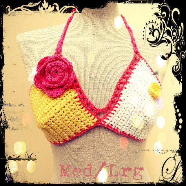 Floral Crochet Bikini Top Medium to Large Festival
