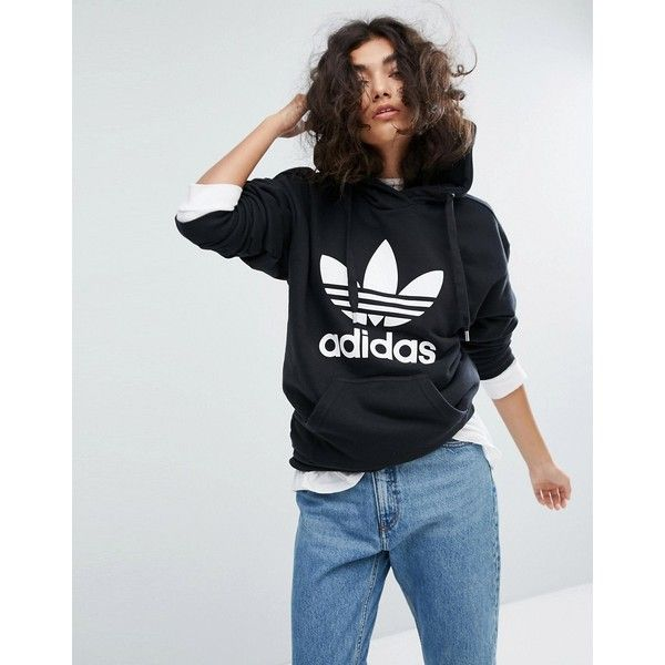 adidas Trefoil Pullover Hoodie In Black (£55) ❤ liked on Polyvore featuring tops, hoodies, black, hooded pullover sweatshirt, tall hoodies, hoodie pullover, adidas trefoil hoodie and adidas jersey