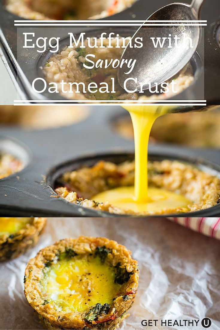 This protein packed Egg Muffins with Savory Oatmeal Crust makes for the perfect portable breakfast.