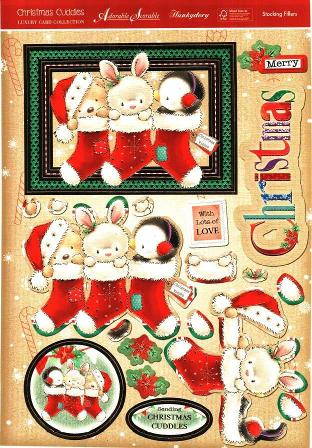 Hunkydory Christmas Cuddles die cut toppers & card - Stocking Fillers, bear, bunny, penguin