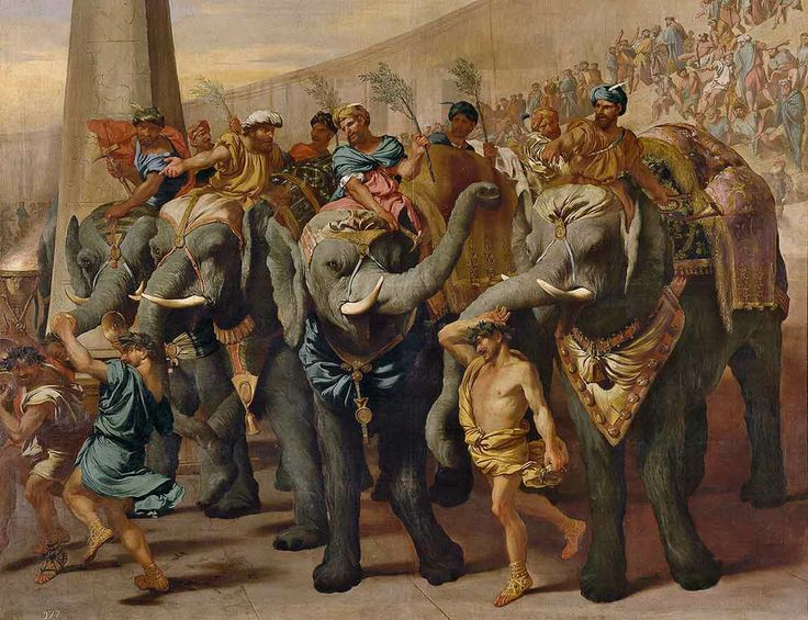 Andrea di Lione  Italian 1610–1685:  Elephants in a circus (Gli Elefanti in un circo) c.1640.   (On display Winter Masterpieces 2014 at the National Gallery of Victoria. Italian Masterpieces from Spain's Royal Court, Museo del Prado).