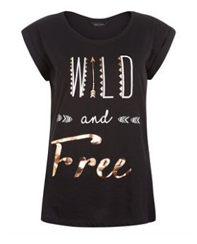 T-shirt noir Wild and Free à manches roulées | New Look