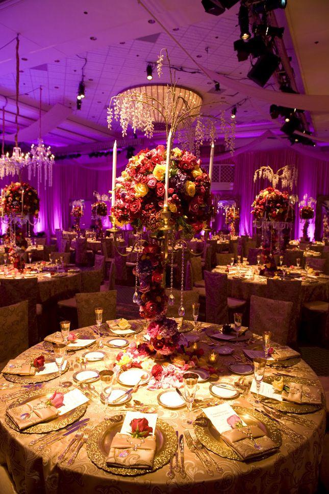 Purple & gold reception decor #indianwedding