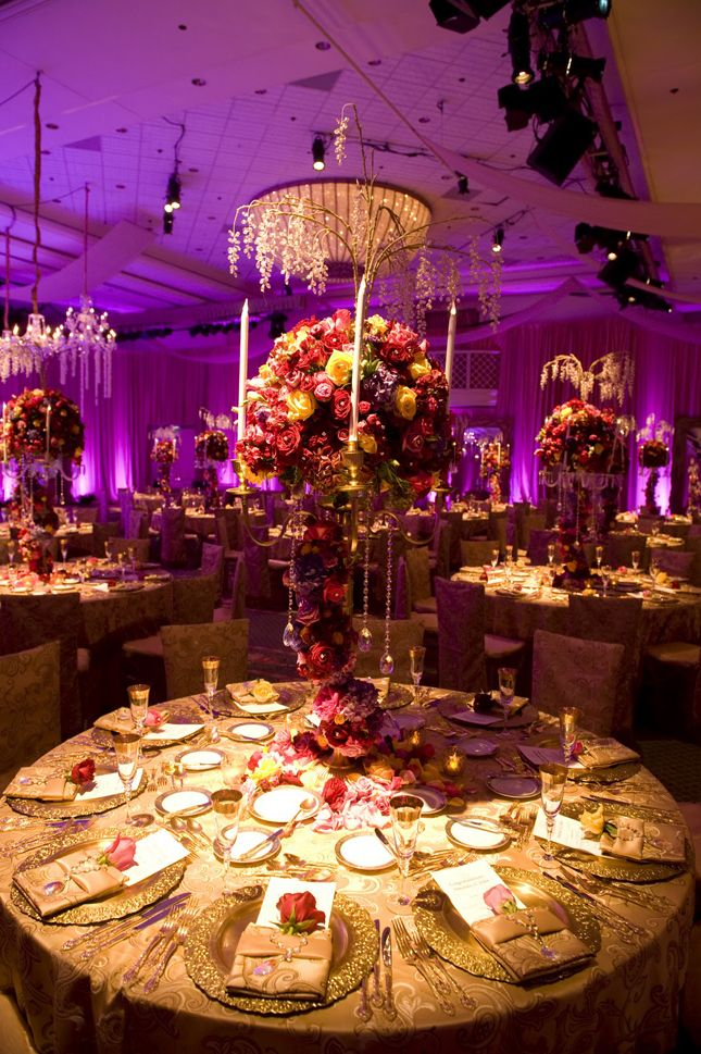 Purple & gold reception decor #indianwedding