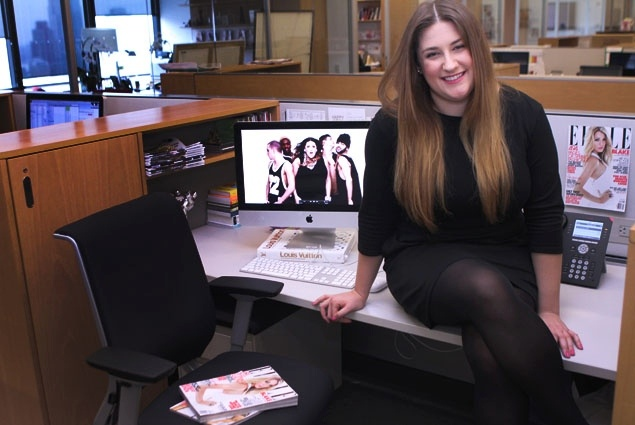 """ELLE's Julie Vadnal talks about recording """"My Heelz"""" music video with Kara DioGuardi at the magazine's offices."""