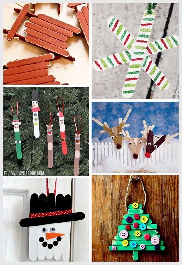 1. Sled | 2. Snowflake | 3. Christmas Characters | 4. Reindeer | 5. Snowman | 6. Christmas Tree How cute are these ornaments? All you need for these fun holiday crafts for kids are some Popsicle sticks, paint, glue, and a little imagination! Click on the sources above for full tutorials on each ornament. Happy crafting!