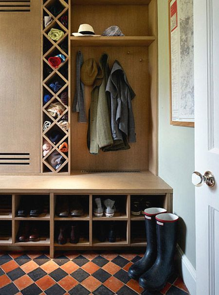 love the storage for hats, gloves, scarves etc. Going to have to look for wine racks at garage sales