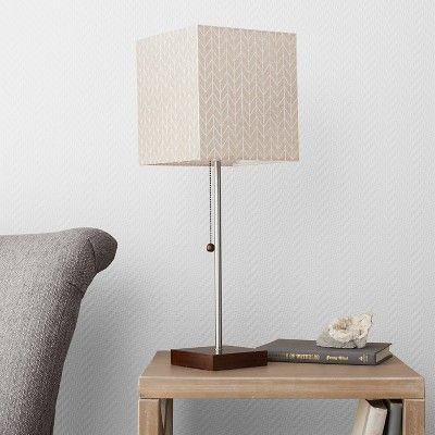 Square Stick Lamp with Chevron Shade Off White (Includes Cfl Bulb) - Threshold