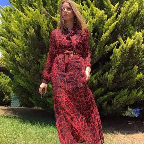 #red #animal #print #caftan #dress