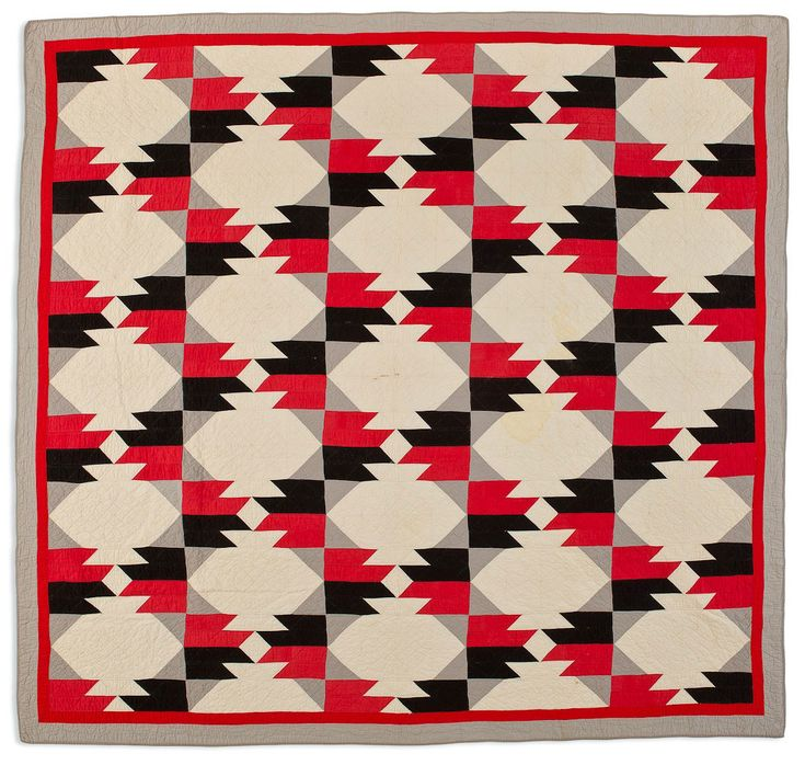 Chieftain quilt, circa 1940, Kentucky.  Speed Art Museum. As more and more tourists visited the American Southwest by rail, Native American arts began to influence popular culture - quilts included. This Chieftain pattern, published in the 1930s, combines motifs and colors reminiscent of Native American blankets.
