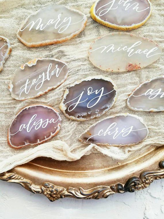 Grey and white agate slices place cards / escort by hanwriting